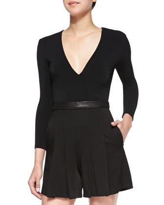 Jersey/Satin/Leather Short Jumpsuit