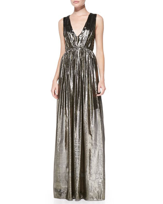 Issa Pleated V-Neck Metallic Gown