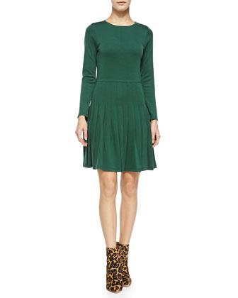 Hue Long-Sleeve Dress W/ Pleated Skirt
