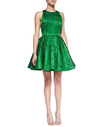 Tevin Full-Skirt Jacquard Dress