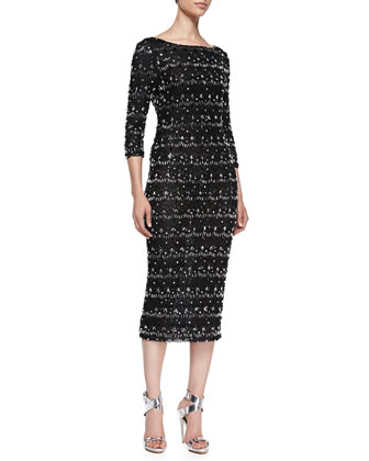 Stein Scalloped Beaded 3/4-Sleeve Sheath Dress