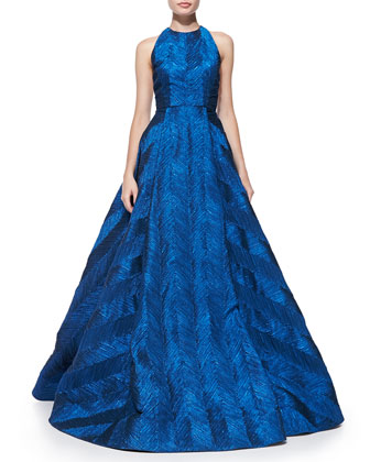 Teifer Feather-Pattern Metallic Ball Gown