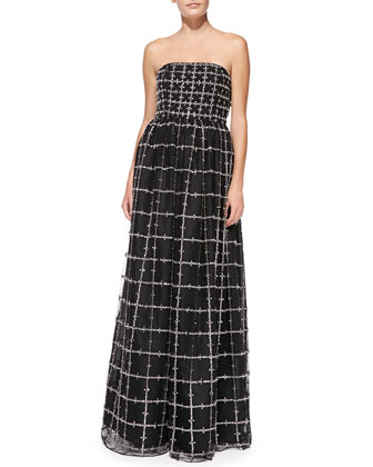 Milly Strapless Beaded Windowpane-Pattern Ball Gown