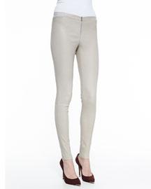 Front-Zip Leather Leggings