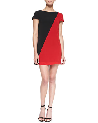 Serina Diagonal Two-Tone Dress