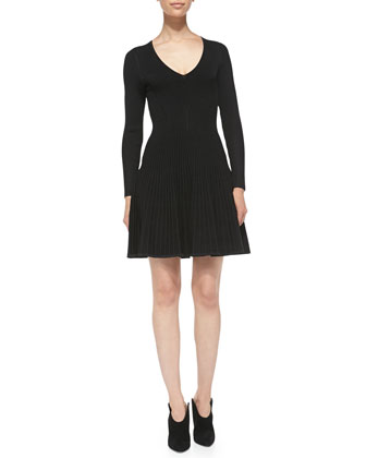 Long-Sleeve Ribbed-Knit V-Neck Dress