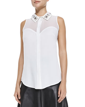 Jane Bead-Collar Stretch-Silk Blouse