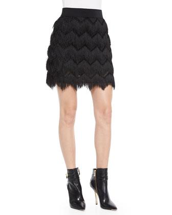 Zigzag Tassel-Fringe Miniskirt