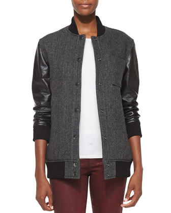 Stanwood Leather-Sleeve Bomber Jacket
