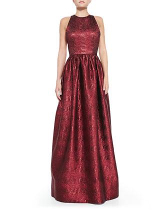 Emilia Snake-Embossed Metallic Gown