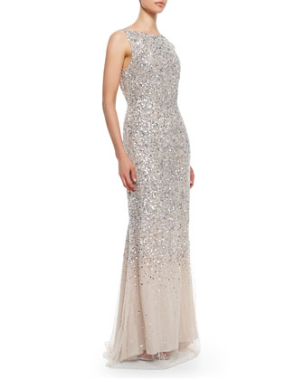 Saba Sleeveless Beaded Mesh Gown