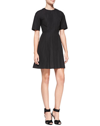 Short-Sleeve Front-Pleated Dress