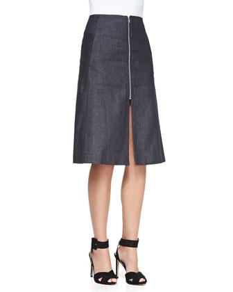 A-Line Front-Zip Denim Skirt