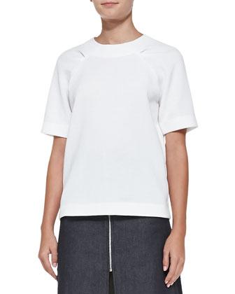 Tucked-Shoulder Half-Sleeve Knit Top, White
