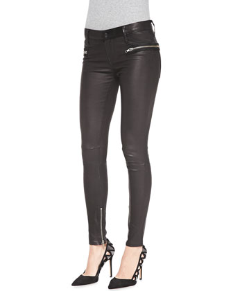 Zip-Pocket Skinny Leather Pants