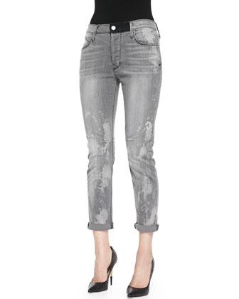 Splash-Print Slim Boyfriend Jeans, Storm