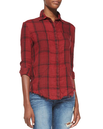 Red Plaid Industrial Shirt, Red