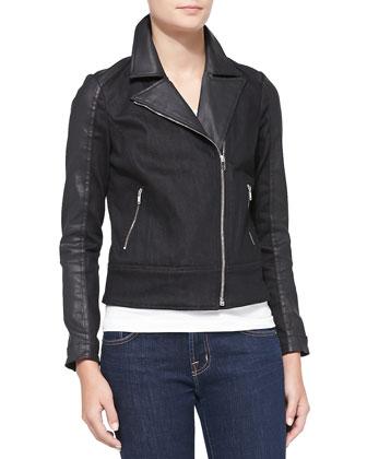 Mixed-Fabric Moto Jacket