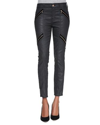 Coated Double-Zip Moto Jeans, Black
