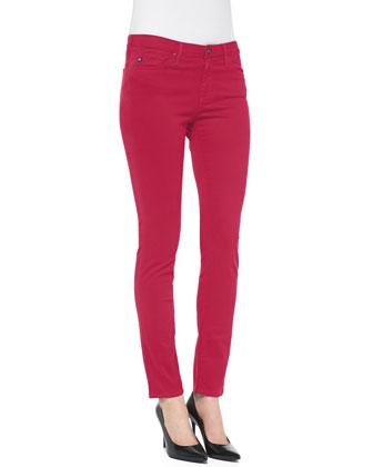 Prima Sateen Low-Rise Cigarette Jeans, Lapis
