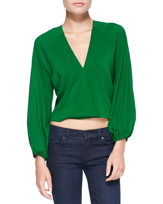 Borvo Satin Surplice Crop Top