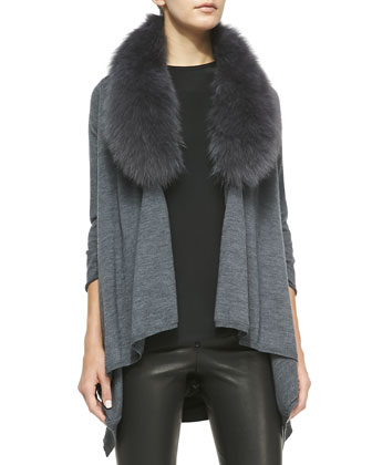 Cashmere-Blend Izzy Open-Front Cardigan, Gray