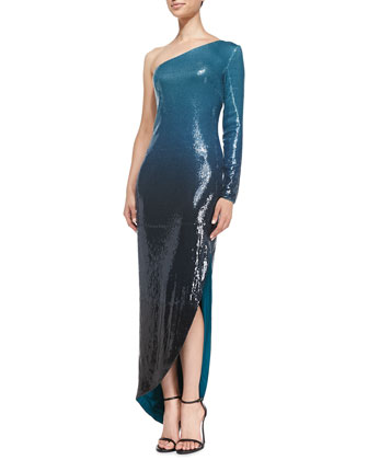 One-Shoulder Sequined Ombre Gown