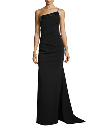 Sequin-Trim One-Shoulder Gown