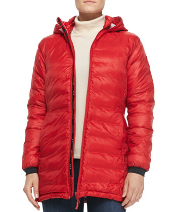 Camp Hooded Mid-Length Puffer Jacket, Red