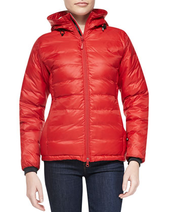 Camp Hooded Packable Puffer Jacket, Red