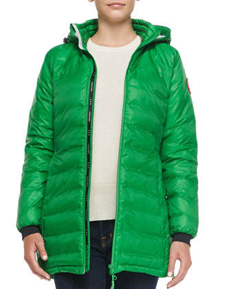 Camp Hooded Mid-Length Puffer Jacket, Jade Green