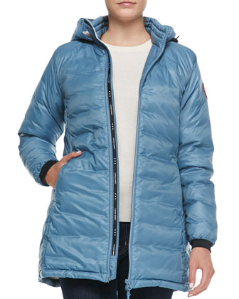 Camp Hooded Mid-Length Puffer Jacket, Ocean