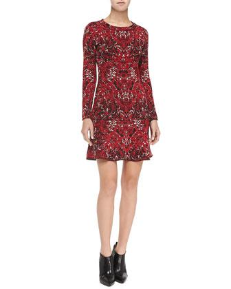 Marble-Print Dress w/ Flip Skirt