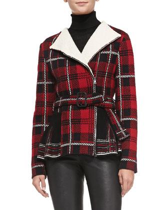 Tartan Plaid Knit Peplum Jacket
