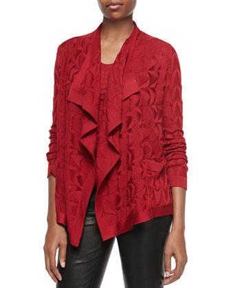Solid-Knit Waterfall Cardigan