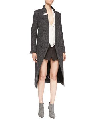Long-Sleeve Tweed Tuxedo Coat