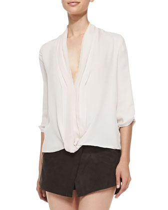 Drape-Front Loose Silk Blouse