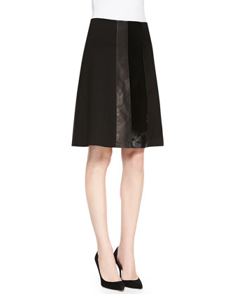 Nadav Ponte/Leather/Calf Hair Skirt