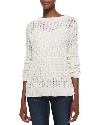 Koralyn Wide-Stitch Knit Sweater