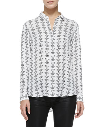 Aquilina B Silk Button-Front Blouse, Black-White