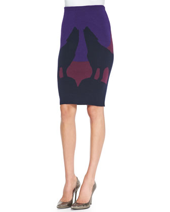 Howling Wolves Knit Pencil Skirt