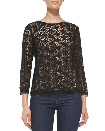 Antonina Leather-Trim Lace Top