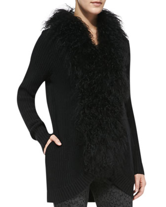 Caralynn Fur-Collar Knit Sweater