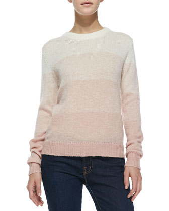 Dorianna Shadow-Stripe Knit Sweater
