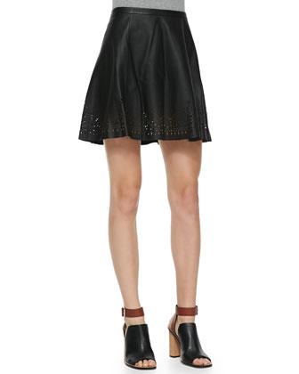 Senica Perforated-Hem Leather Skirt