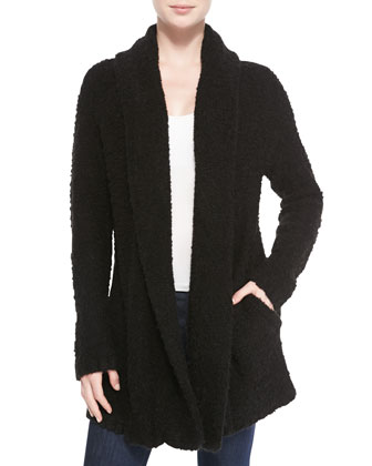 Solome Shawl-Collar Boucle Jacket, Caviar