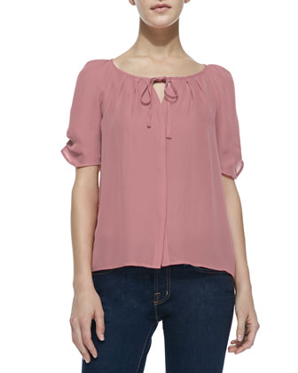 Berkley Tie-Neck Silk Blouse