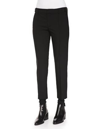 Pintuck Leather-Tab Pants, Black