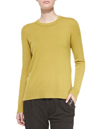 Cashmere-Overlay Crewneck Sweater, Chartreuse