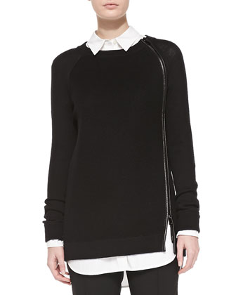 Leather-Trim Wool Sweater